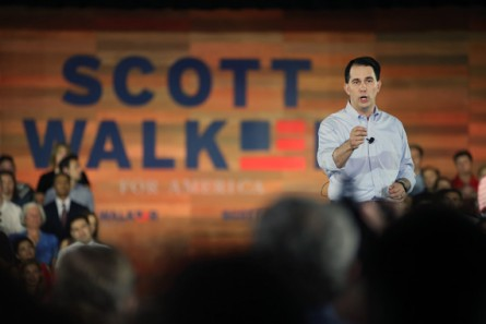 Walker unveiled his campaign logo when he announced he was running on Monday. (Getty Images photo)
