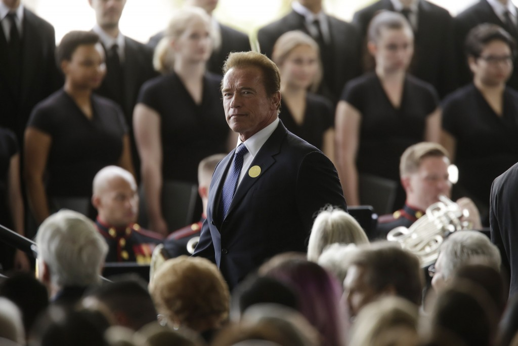 SIMI VALLEY CA MARCH 11, 2016 - Arnold Schwarzenegger arrives for funeral services being held for former first lady Nancy Reagan at the Ronald Reagan Presidential Library March 11, 2016 in Simi Valley. Mrs Reagan will be buried next to her husband on the property. (Photo by Irfan Khan-Pool/Getty Images)