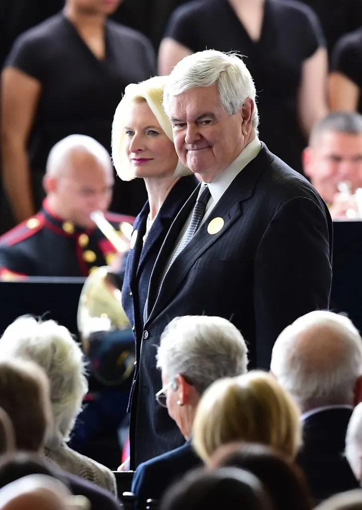 Former Speaker of the House of Representatives Newt Gingrich and his wife, Callista, arrive for funeral services for former First Lady Nancy Reagan at the Ronald Reagan Presidential Library on March 11, 2016, in Simi Valley, California. AFP PHOTO/FREDERIC J. BROWN / AFP / FREDERIC J. BROWN (Photo credit should read FREDERIC J. BROWN/AFP/Getty Images)