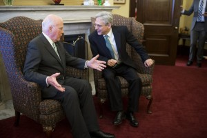 Leahy, left, and Garland, right, met Thursday. (Tom Williams/CQ Roll Call)