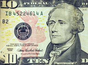 This March 29, 2009 photo illustration shows Alexander Hamilton on the front of the USD 10 note in Washington, DC. AFP PHOTO/Karen BLEIER (Photo credit should read KAREN BLEIER/AFP/Getty Images)