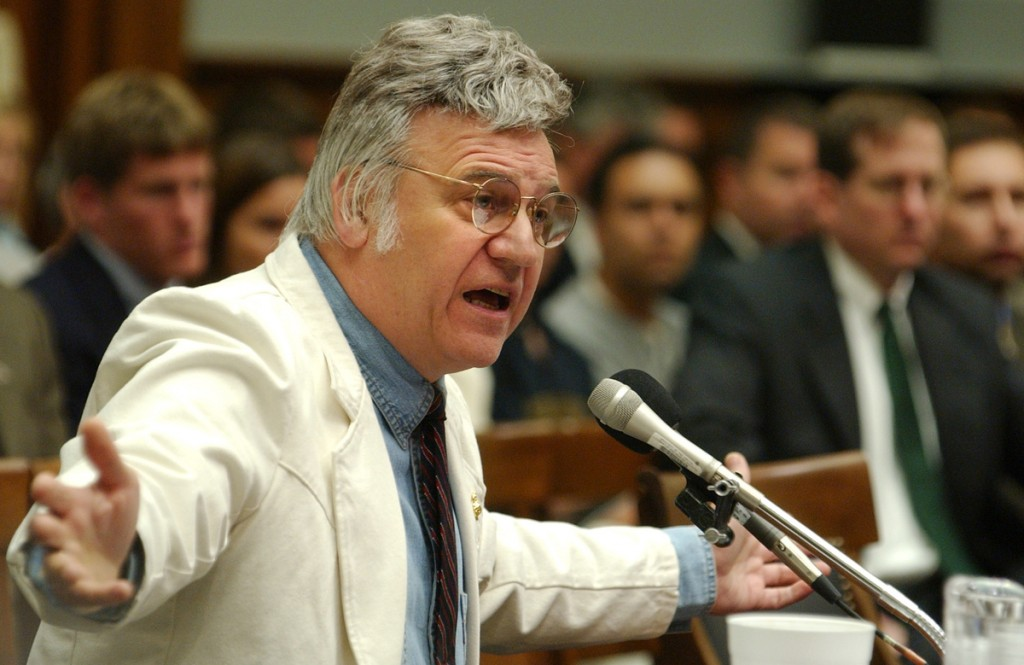 traficant5/071802 - Rep. James Traficant, D-Ohio, testifies at a hearing of the House Ethics Committee. The Committee found Traficant guilty of 9 counts violating House rules and recommended expulsion from Congress.