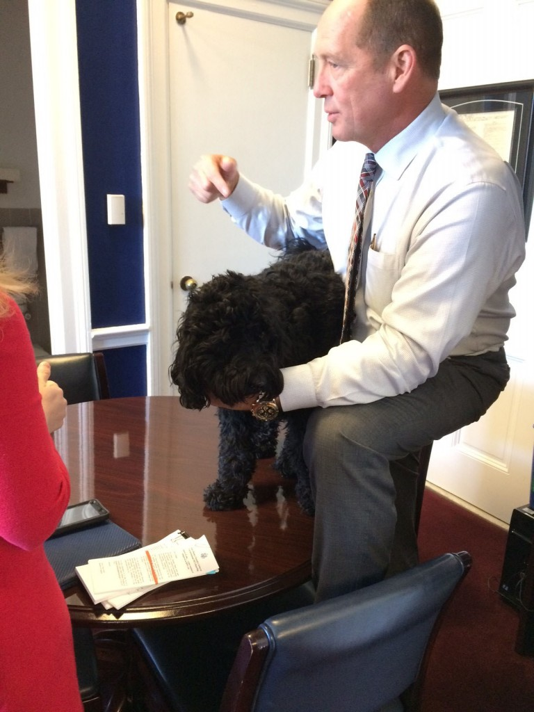 A staffer from a neighboring office brought Winston for Yoho to examine. (Courtesy Rep. Ted Yoho)