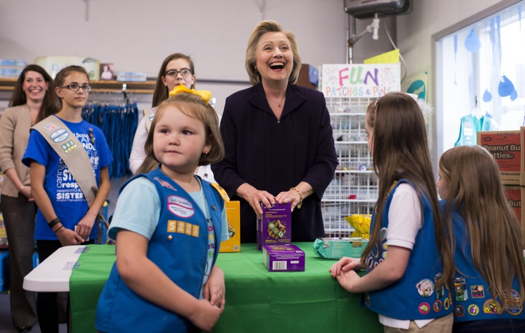Hillary Clinton bought $25 worth of Girl Scout cookies at a campaign stop in Ashland, Kentucky. (Bill Clark/CQ Roll Call)