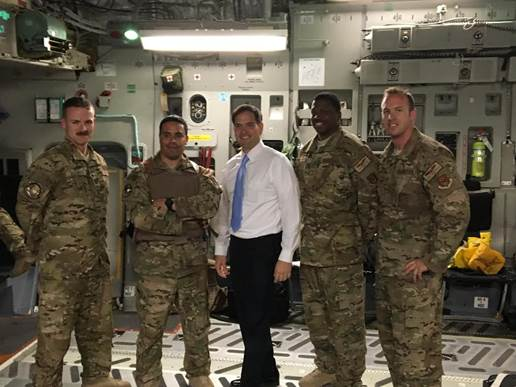 Florida Sen. Marco Rubio also met with a C-17 crew in Baghdad on Tuesday. (Courtesy office of Sen. Marco Rubio)