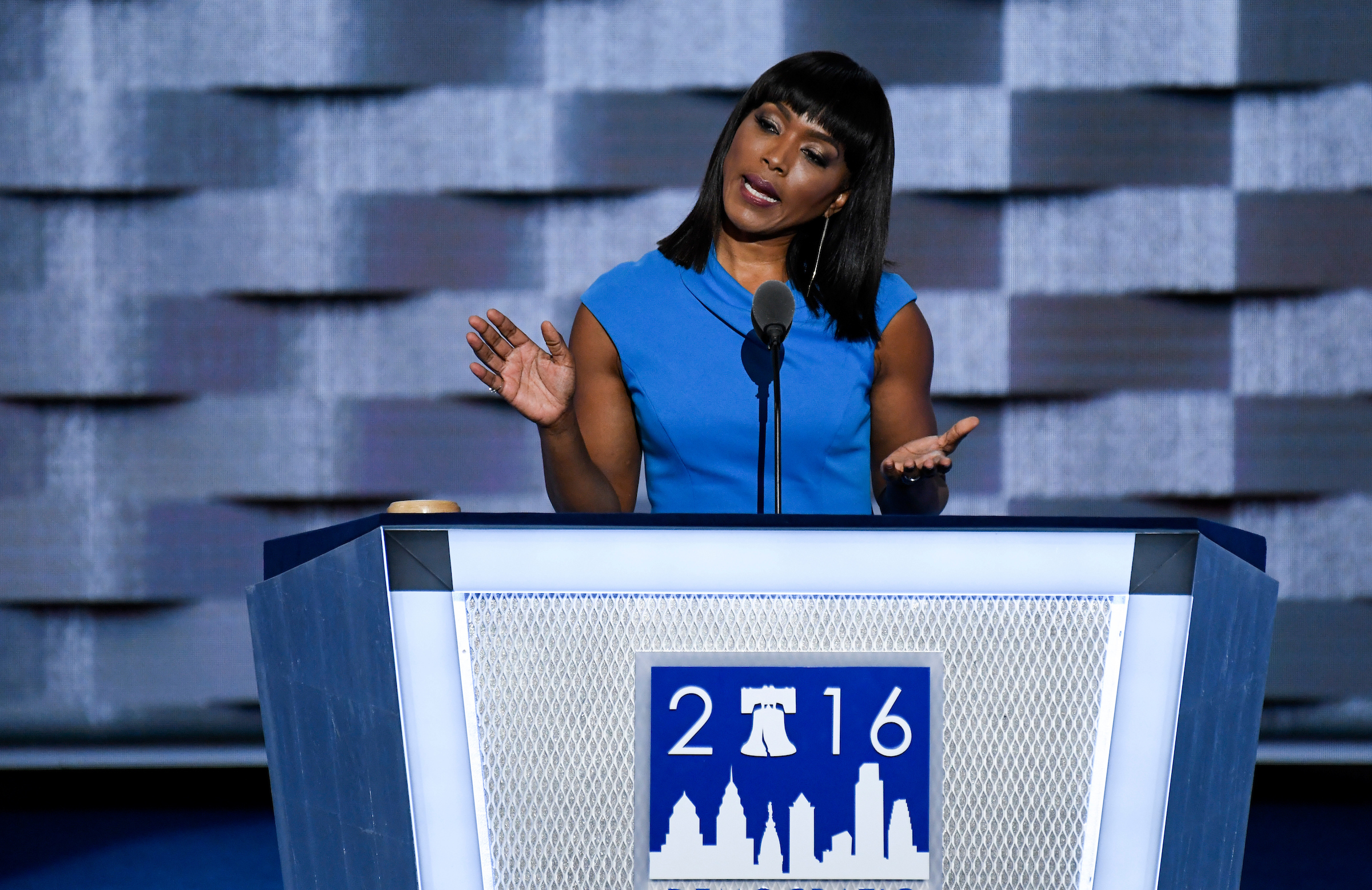 UNITED STATES - JULY 27: Actress Angela Bassett speaks at the Democratic National Convention in Philadelphia on Wednesday, July 27, 2016. (Photo By Bill Clark/CQ Roll Call)