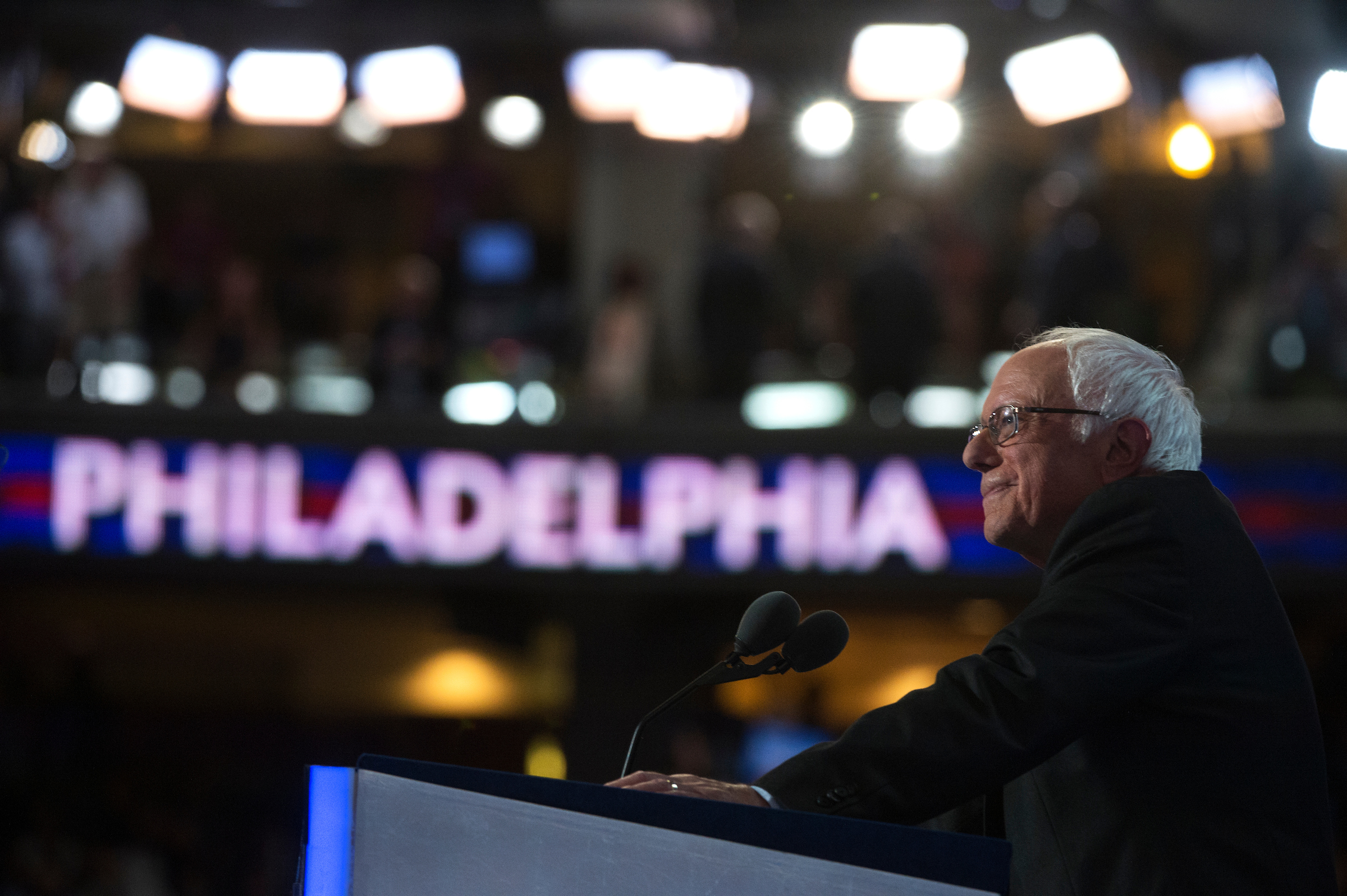 Vermont Sen. Bernie Sanders addresses the crowd at the Democratic convention Monday. (Tom Williams/CQ Roll Call)
