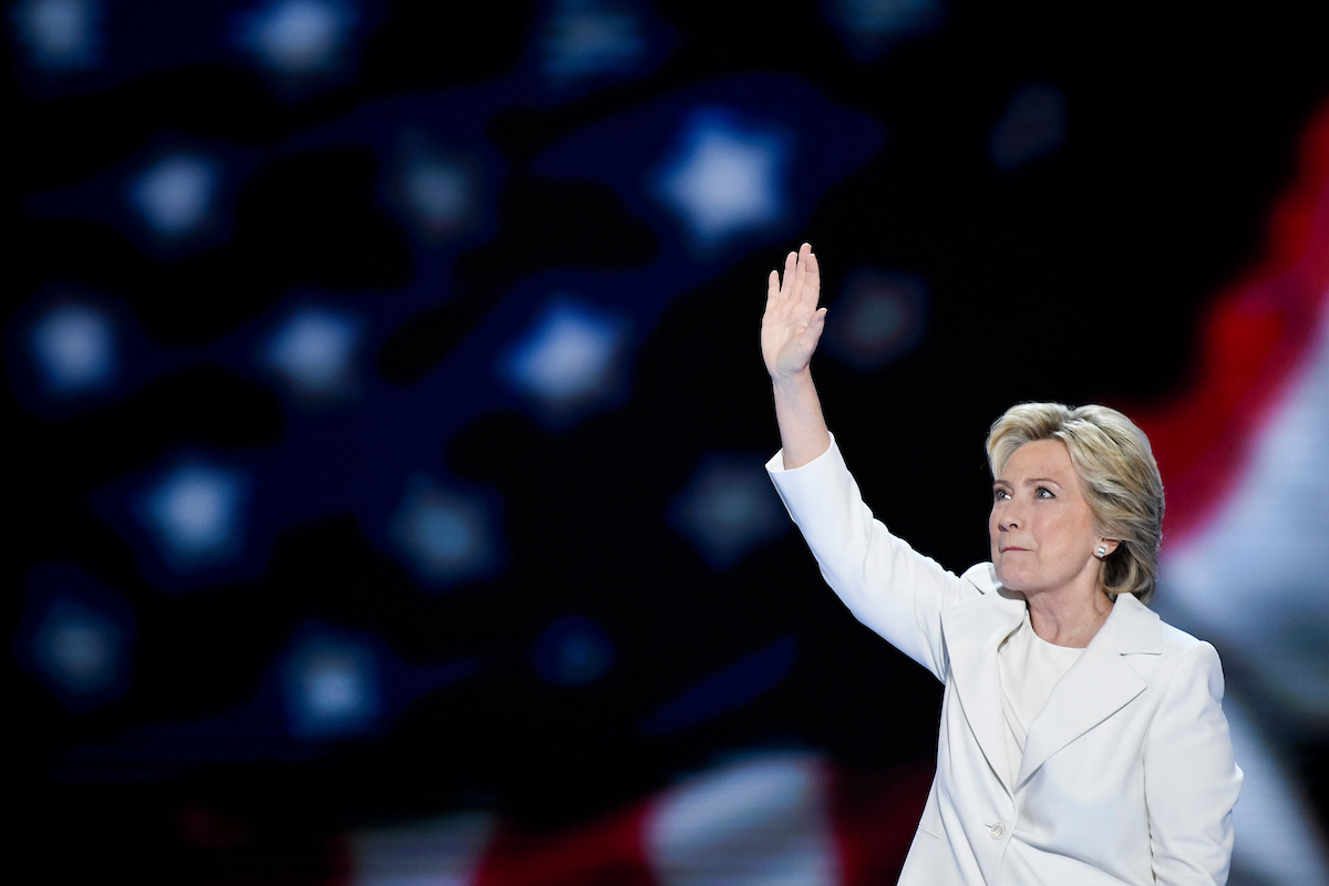 UNITED STATES - JULY 28: Hillary Clinton takes the stage to accept the nomination to be President at the Democratic National Convention in Philadelphia on Thursday, July 28, 2016. (Photo By Bill Clark/CQ Roll Call)
