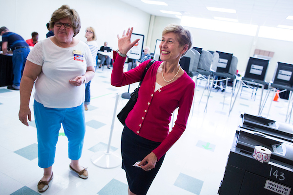 Deborah Ross, a former Democratic member of the North Carolina General Assembly, waves after casting her vote in the state's primary in March. (Photo By Al Drago/CQ Roll Call)