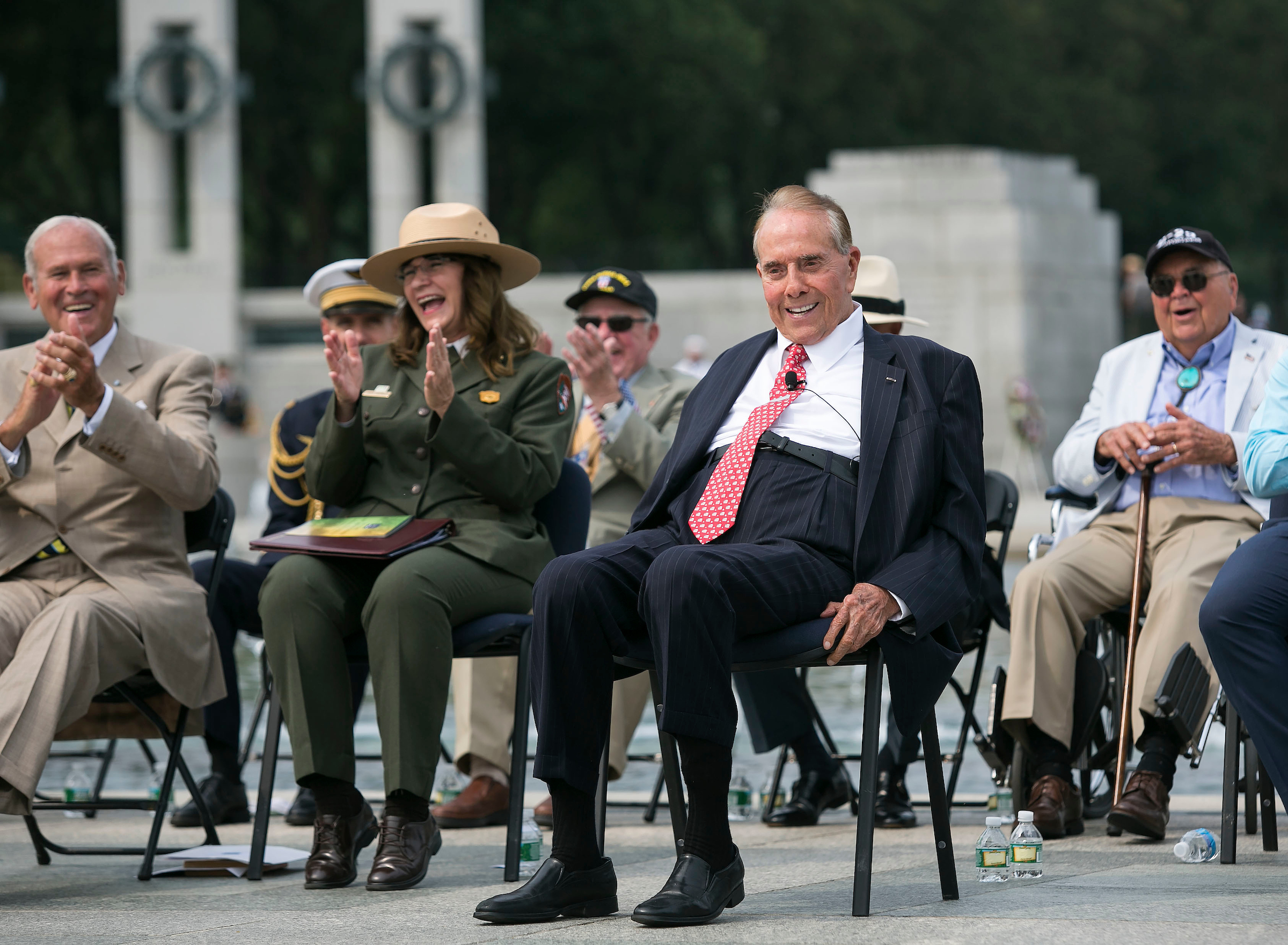 UNITED STATES - September 2: Former Sen. Bob Dole. R-Kan., jokingly announces he is also running for president, during an event to celebrate the 70th anniversary of the Allied Forces Victory in the Pacific and the end of World War II in Washington, Wednesday, September 2, 2015. Although the World War II effectively ended in August, 1945, after Japanese forces surrendered to the Allied Forces, it was on September 2, 1945, that a formal surrender ceremony in Tokyo Bay occurred aboard the USS Missouri, that officially ended the war. Then President Harry Truman declared September 2 to be V-J Day, or Victory over Japan Day. (Photo By Al Drago/CQ Roll Call)