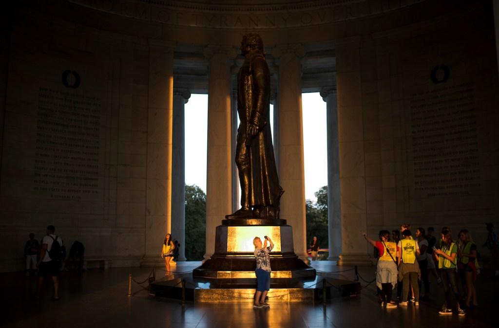 Visitors tour the Jefferson Memorial in Washington on Saturday, Sept. 17. (Bill Clark/CQ Roll Call)