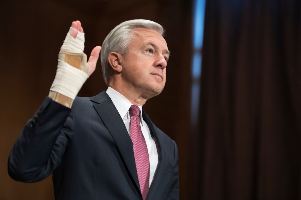 Wells Fargo CEO John Stumpf is sworn in before testifying at a Senate Banking Committee hearing in the Dirksen building on Tuesday, Sept. 20, about the company's unauthorized accounts opened under customers' names. (Tom Williams/CQ Roll Call)