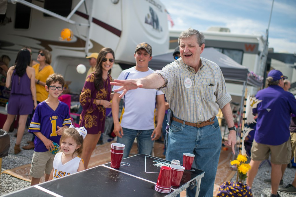 Nov. 5, 2016: John Kennedy, Republican candidate for Senate from Louisiana, throws a ball during a game of beer pong while greeting fans at tailgate parties before a football game between Louisiana State University and the University of Alabama in Baton Rouge, La. (Tom Williams/CQ Roll Call)