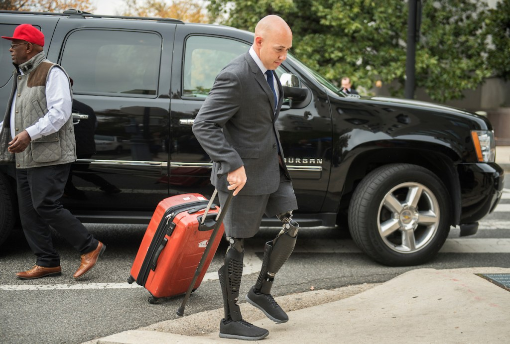 Rep.-elect Brian Mast, R-Fla., is seen outside of the Capitol Hill Hotel on Monday, Nov. 14 -- the day freshman members checked in for orientation. (Tom Williams/CQ Roll Call)