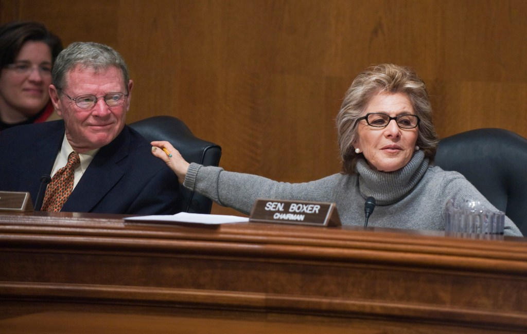 Boxer, as chairwoman, gives kudos to Inhofe, the ranking member, for helping conduct an Environment and Public Works Committee hearing in 2010 when many had been postponed due to the snow. (CQ Roll Call/ file photo)