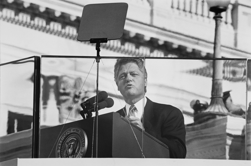 President Bill Clinton gives his first inaugural address in 1993. (Maureen Keating/CQ Roll Call file photo)