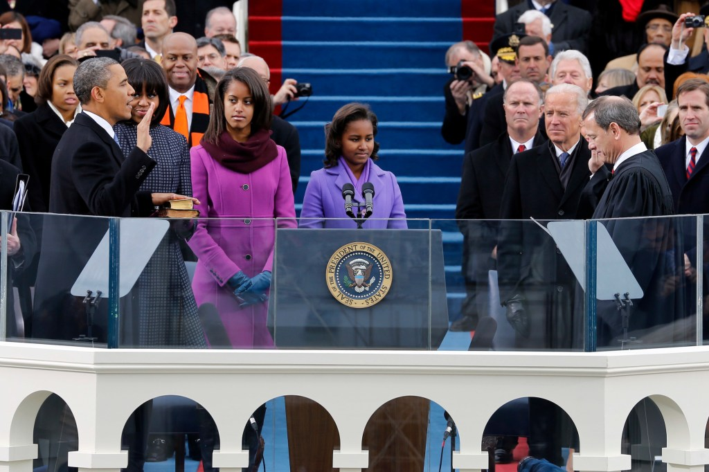 Obama takes the oath of office at his second inauguration in 2013. (Scott Andrews/Pool/AP file photo)