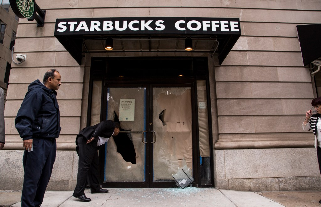 A Starbucks store window was broken Friday before Trump's swearing-in. (Matt Rhodes for CQ Roll Call)