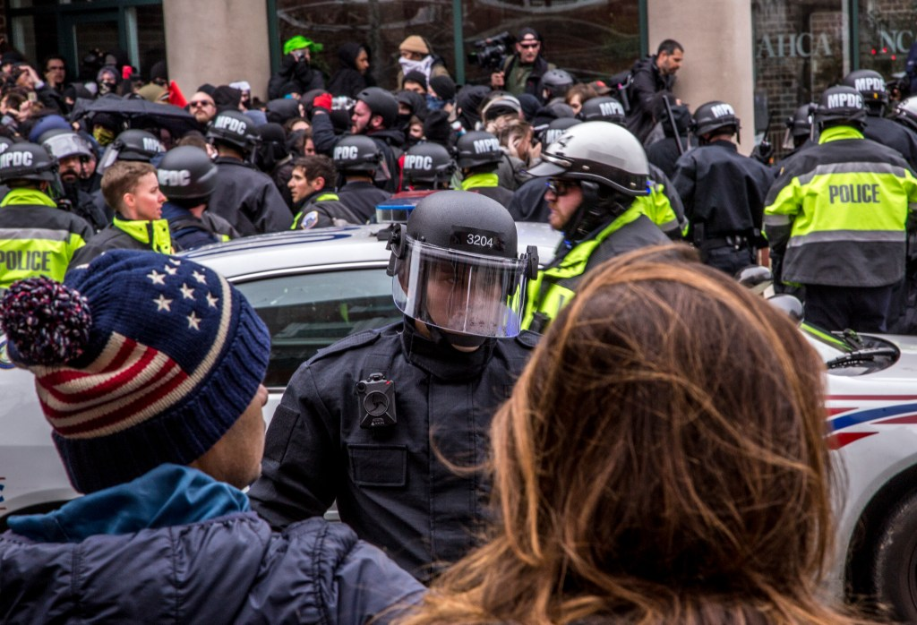 D.C. police in riot gear on Friday before Trump's swearing-in. (Matt Rhodes for CQ Roll Call)
