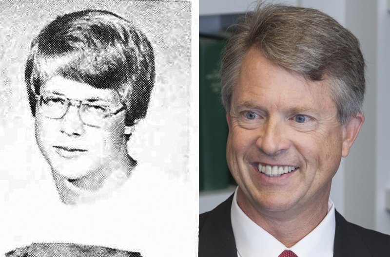 Marshall in his 1980 Butler Community College Yearbook photo, and in a CQ Roll Call File Photo.