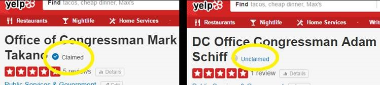 A claimed vs. unclaimed Yelp page. (Photo courtesy of Takano's office)