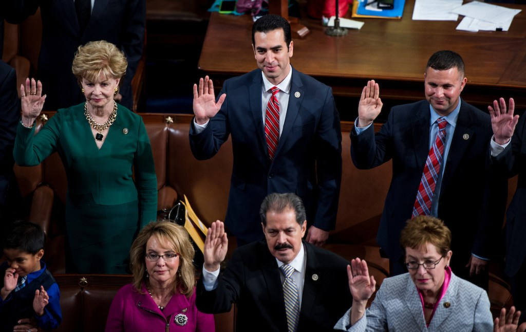 From left, Guam Del. Madeleine Z. Bordallo, former Arizona Rep. Gabrielle Giffords, Nevada Rep. <a class=
