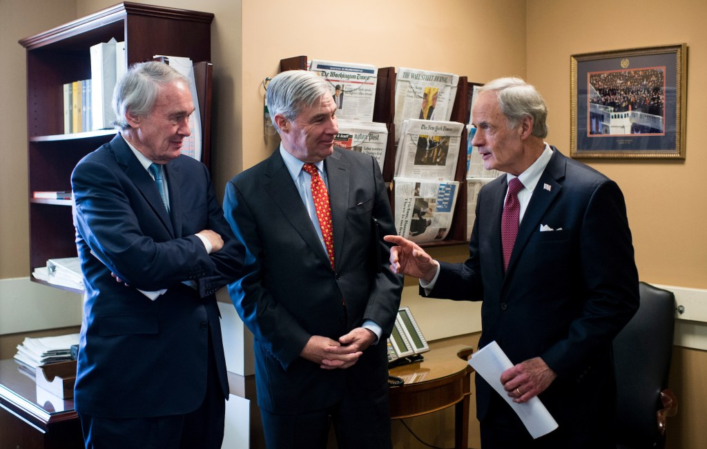 UNITED STATES - FEBRUARY 16: From left, Sen. Ed Markey, D-Mass., Sen. Sheldon Whitehouse, D-R.I., and Sen. Tom Carper, D-Del., talk before holding their news conference on the nomination of Scott Pruitt to be administrator of the EPA on Thursday, Feb. 16, 2017. (Photo By Bill Clark/CQ Roll Call)