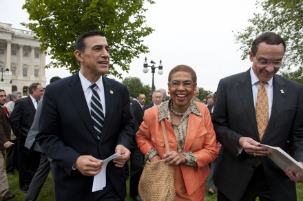 Rep. Darrell Issa, left, Del. Eleanor Holmes Norton and Mayor Vincent Gray may have the ball back in their congressional court on budget autonomy matters. (Douglas Graham/CQ Roll Call File Photo)