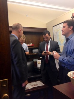 Catania, left, requested a meeting with Harris through his staffer Chris Meekins, right. (Hannah Hess/CQ Roll Call)