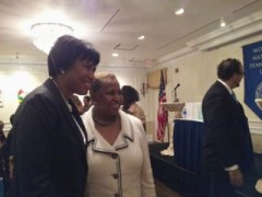 Muriel Bowser and Carol Moseley Braun before the awards on Thursday. (Clark Mindock / CQ Roll Call)