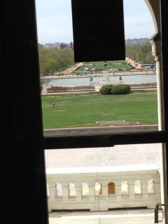 View of the gyrocopter from the Capitol basement. (Hannah Hess/CQ Roll Call)