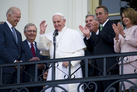 Francis addressed the crowd on the Capitol's West Front after his speech to Congress. (Douglas Graham/CQ Roll Call)