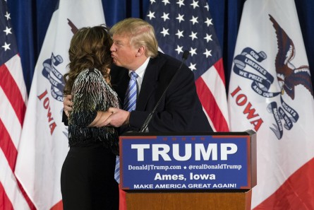 UNITED STATES - JANUARY 18 - Republican presidential candidate Donald Trump kisses former Alaska Gov. Sarah Palin speaks as she endorses him at a campaign stop, Tuesday, Jan. 19, 2016, in Ames, Iowa. (Photo By Al Drago/CQ Roll Call)