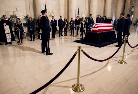 UNITED STATES - FEB. 19 - Members of the public pass through the Great Hall of the Supreme Court as they pay their respects to the late Justice Antonin Scalia, in Washington, Friday, Feb. 19, 2016. (Photo By Al Drago/CQ Roll Call)