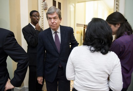 UNITED STATES - OCTOBER 27: Sen. Roy Blunt (R-MO) leaves the Senate Republicans' policy lunch on Tuesday, Oct. 27, 2015. (Photo By Bill Clark/CQ Roll Call)