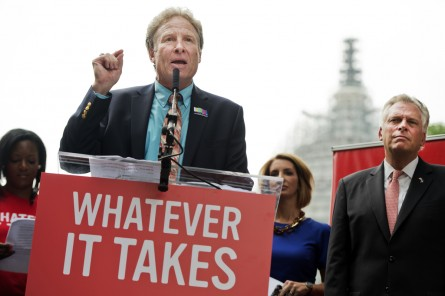 UNITED STATES - SEPTEMBER 10: Andy Parker, whose daughter Alison, a reporter for WDBJ-TV reporter, was killed on air last month, speaks during a rally on the East Front lawn of the Capitol to demand that Congress take action on gun control legislation as Gov. Terry McAuliffe, D-Va., looks on, September 10, 2015. The event, titled #Whateverittakes Day of Action, was hosted by Everytown for Gun Safety and featured speeches by political leaders and families of gun violence victims. (Photo By Tom Williams/CQ Roll Call)