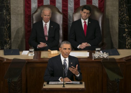 UNITED STATES - JANUARY 12 - President Barack Obama speaks during his final State of the Union to a joint session of Congress in the House Chamber on Capitol Hill in Washington, Tuesday, Jan. 12, 2016. Behind him Vice President Joe Biden and House Speaker Paul Ryan listen. (Photo By Al Drago/CQ Roll Call)