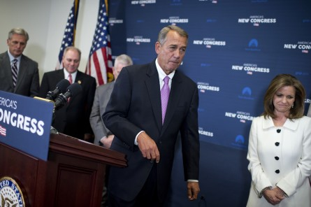 left, House Majority Leader Kevin McCarthy, R-Calif., Majority Whip Steve Scalise, R-La., Rep. Bill Johnson, R-Ohio, Speaker John Boehner, R-Ohio, and Rep. Lynn Jenkins, R-Kan., leave a news conference after a meeting of the House Republican Conference in the Capitol, January 27, 2015. (Photo By Tom Williams/CQ Roll Call) gop_meeting003_012715.JPG