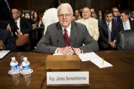 Sensenbrenner, R-Wisc., prepares to testify during the Senate Judiciary Committee hearing on