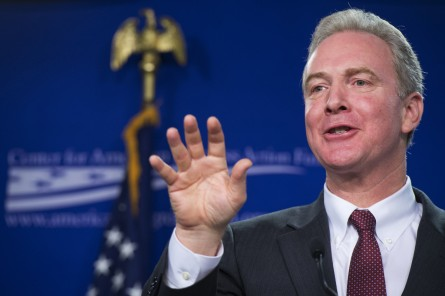 Chris Van Hollen, D-Md., delivers a speech at the Center For American Progress on middle-class wages, January 12, 2015. (Photo By Tom Williams/CQ Roll Call)