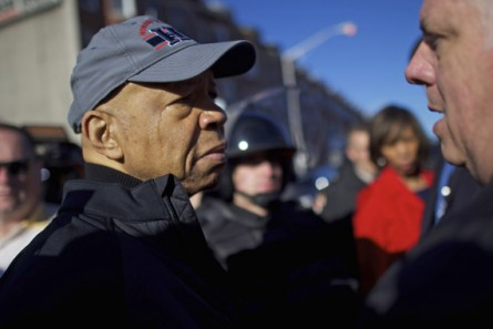BALTIMORE, MD - APRIL 28:  (L-R) Congressman Elijah Cummings cries while greeting Maryland Governor Larry Hogan the morning after citywide riots following the funeral of Freddie Gray, on April 28, 2015 in Baltimore, Maryland. Gray, 25, was arrested for possessing a switch blade knife April 12 outside the Gilmor Houses housing project on Baltimore's west side. According to his attorney, Gray died a week later in the hospital from a severe spinal cord injury he received while in police custody. (Photo by Mark Makela/Getty Images)