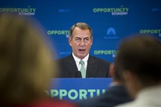 Boehner, R-Ohio, speaks during the House GOP leadership media availability following the House Republican Conference meeting in the Capitol on Wednesday, June 24, 2015. (Photo By Bill Clark/CQ Roll Call)