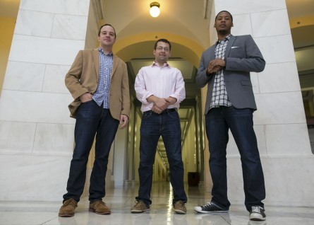 UNITED STATES - August 14: From left, Peter Hunter, Senior Legislative Assistant, Joe Lustig, Legislative Assistant, and Brandon Gassaway, Press Secretary, all for the office of Rep. Cedric Richmond, D-La., pose for a portrait in the Cannon House Office Building on Capitol Hill in Washington, on Friday, August 14, 2015 (Photo By Al Drago/CQ Roll Call)