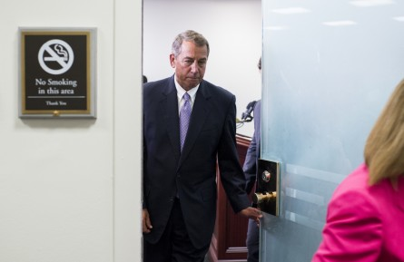 UNITED STATES - SEPTEMBER 9: Speaker of the House John Boehner (R-OH) leaves the House GOP leadership press conference following the House Republican Conference meeting in the basement of the Capitol on Wednesday, Sept. 9, 2015. (Photo By Bill Clark/CQ Roll Call)