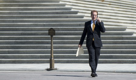 UNITED STATES - JULY 25: Rep. Peter Roskam, R-Ill., walks across the East Plaza as he leaves the Capitol on Friday, July 25, 2014. (Photo By Bill Clark/CQ Roll Call)