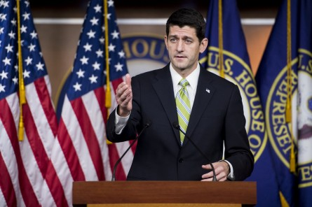 UNITED STATES - NOVEMBER 19: Speaker of the House Paul Ryan, R-Wis., holds his weekly on-camera press conference in the Capitol on Thursday, Nov. 19, 2015. (Photo By Bill Clark/CQ Roll Call)