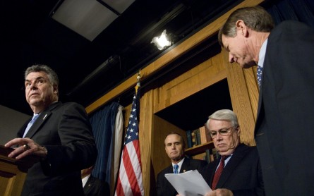 From left, Rep. Peter King, R-N.Y., Rep. Brian Bilbray, R-Calif., Rep. Elton Gallegly, R-Calif., and Rep. Lamar Smith, R-Texas participate in a news conference on immigration legislation in the House Radio/TV Gallery studio on Tuesday, June 19, 2007. (CQ Roll Call File Photo)