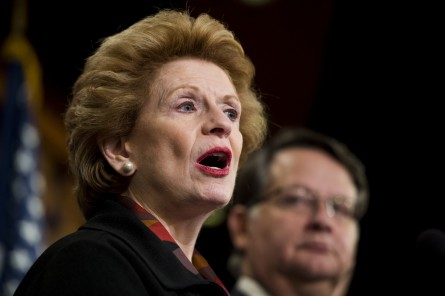 UNITED STATES - JANUARY 28: Sen. Debbie Stabenow, D-Mich., and Sen. Gary Peters, D-Mich., participate in the Senate Democrats' news conference on the lead contaminated drinking water in Flint , Michigan on Thursday, Jan. 28, 2016. The Senators announced an amendment to the Energy Policy and Modernization Act to help families in Flint, Mich. who have been exposed to lead poisoning through contaminated drinking water. (Photo By Bill Clark/CQ Roll Call)