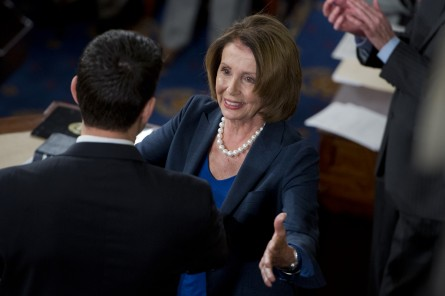 UNITED STATES - OCTOBER 29: House Minority Leader Nancy Pelosi, D-Calif., prepares to hand the gavel to Rep. Paul Ryan, R-Wisc., before he was sworn in on the House floor as the 54th Speaker of the House, October 29, 2015. (Photo By Tom Williams/CQ Roll Call)