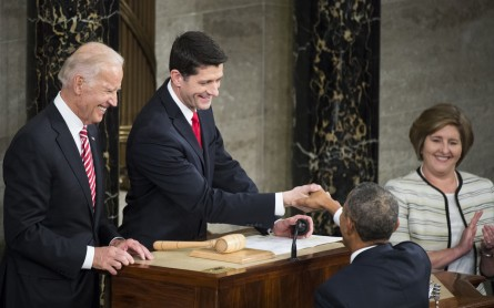 UNITED STATES - JANUARY 12: President Barack Obama shakes hands with Vice President Joe Biden and Speaker of the House Paul Ryan, R-Wis., as he arrives to deliver his final State of the Union address to a Joint Session of Congress in Washington on Tuesday, Jan. 12, 2016. (Photo By Bill Clark/CQ Roll Call)